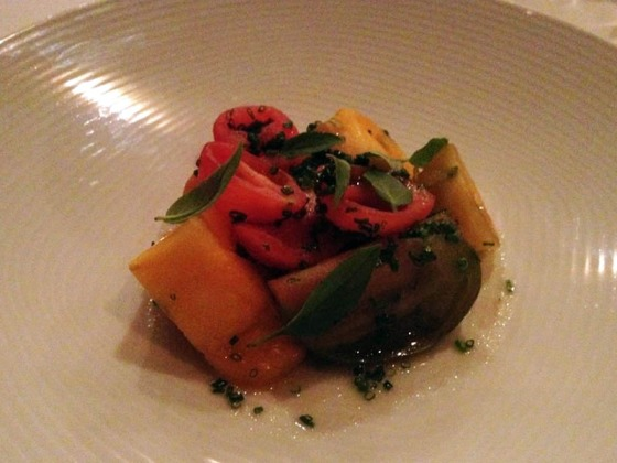Course 3 (L) - Tomatoes and basil, aged muscatel