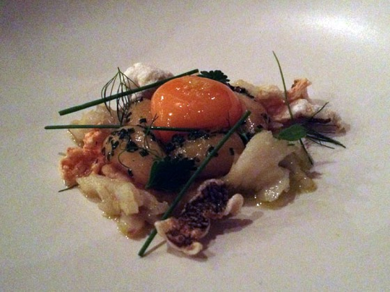 Course 4 (D) - Egg yolk and new potatoes, salt cod, fish crackling
