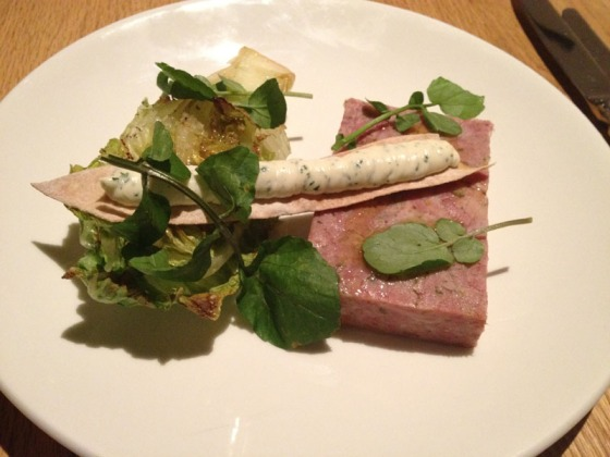 Ham hock pressed with orange and parsley, grilled cos heart, cider mayonnaise
