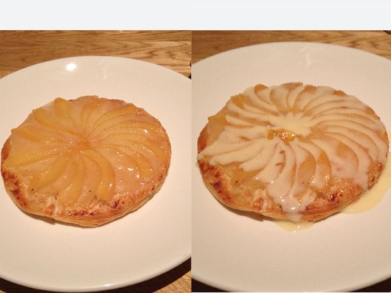 Warm pear and quince tart, vanilla anglaise