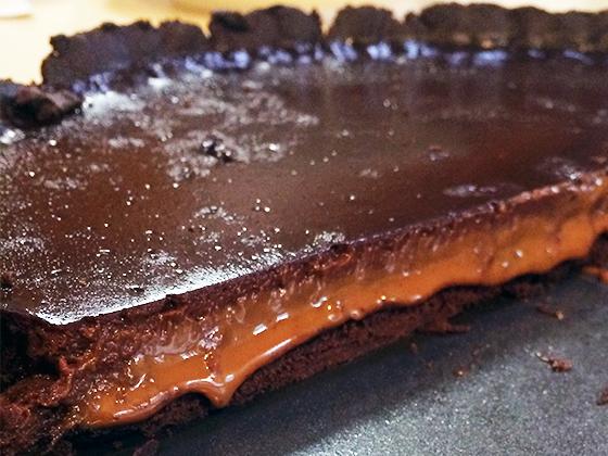 Chocolate - dulce de leche tart